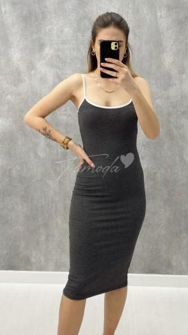 Askılı Kaşkorse Elbise - Gri