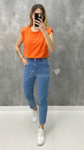 Omuz Vatkalı Basic Tshirt - Turuncu