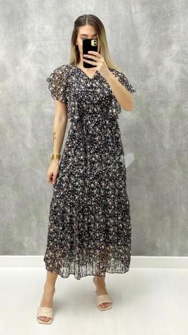 Düğme Detay Şifon Elbise - Siyah
