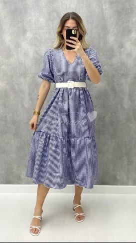 Pötikare Kemerli Elbise - Mavi