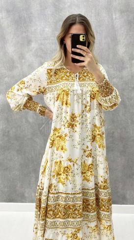 Dökümlü Viskon Elbise - Sarı Çiçekli