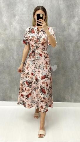 Kolu Volanlı Gömlek Elbise - Pudra