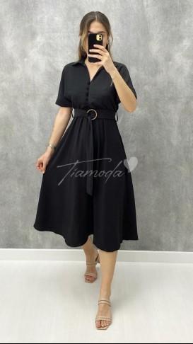 Yakası Kopseli Elbise - Siyah