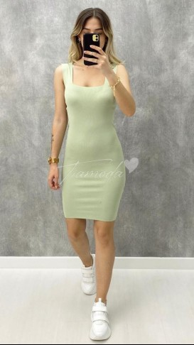 Kare Yaka Çelik Triko Elbise - Mint