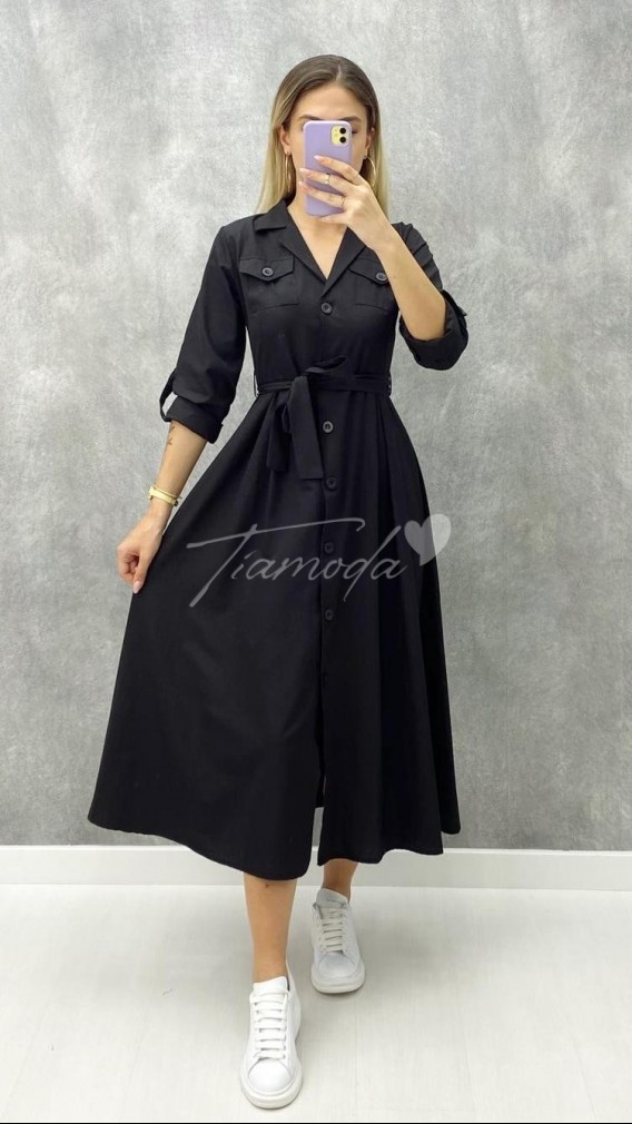 Uzun Kol Piliseli Elbise - Siyah