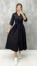 Uzun Kol Pileli Elbise - Siyah