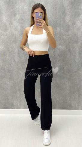 Fitilli Penye Pantolon - Siyah