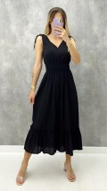 Gipeli Kolsuz Elbise - Siyah