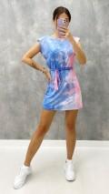 Omuz Vatka Batik Elbise