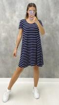 Çizgili Salaş Elbise - Lacivert
