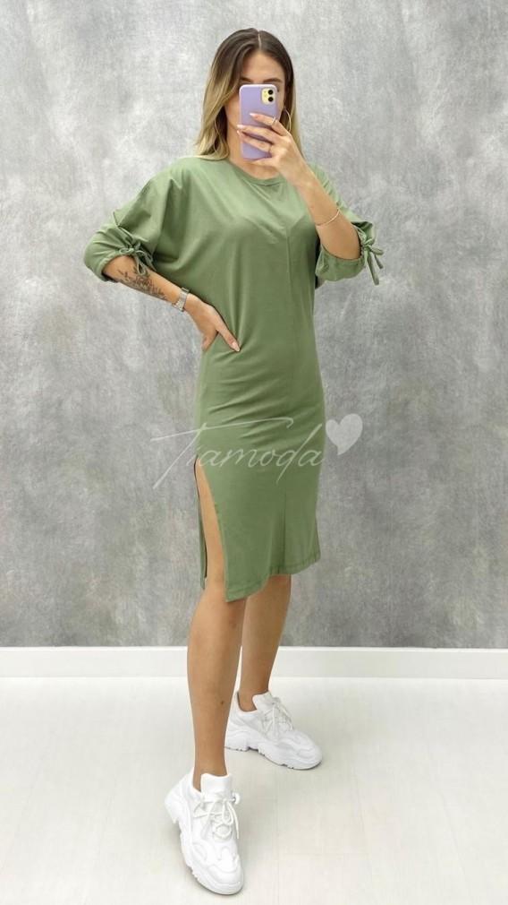 Kolu Bağcıklı Penye Elbise
