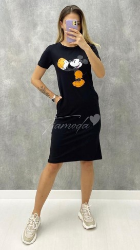 Kısa Kol Ön Baskılı Elbise - Siyah