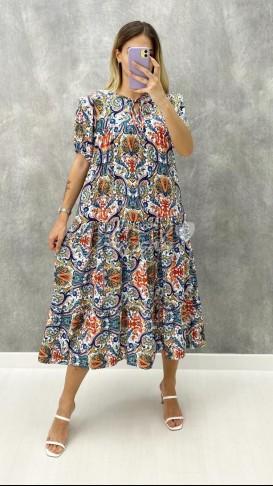 Şal Desen Yaka Detay Elbise