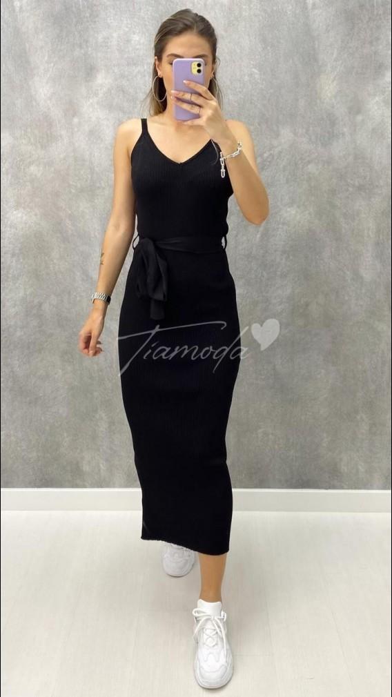 Tek Yırtmaç Askılı Triko Elbise - Siyah