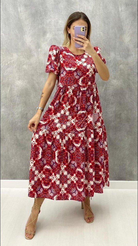 Kol Lastik Şal Desen Elbise - Kırmızı