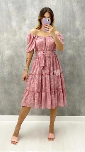 Yaka Lastikli Şifon Elbise - Pudra