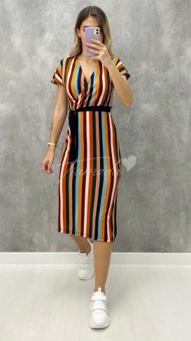 Çizgili Kruvaze Elbise - Renkli