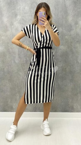 Çizgili Kruvaze Elbise - Siyah