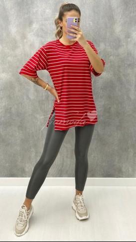 Çizgili Oversize Tshirt - Kırmızı