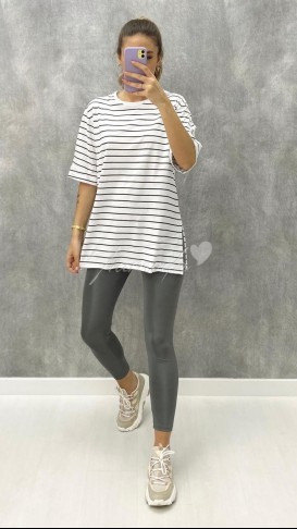 Çizgili Oversize Tshirt - Beyaz