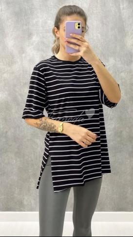 Çizgili Oversize Tshirt - Siyah