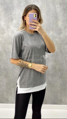 Detaylı Kaşkorse Tshirt - Gri