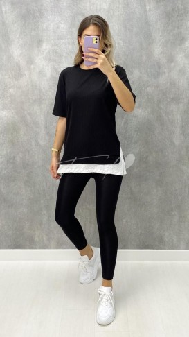 Detaylı Kaşkorse Tshirt - Siyah
