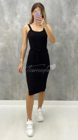 Beli Kuşaklı Penye Elbise - Siyah