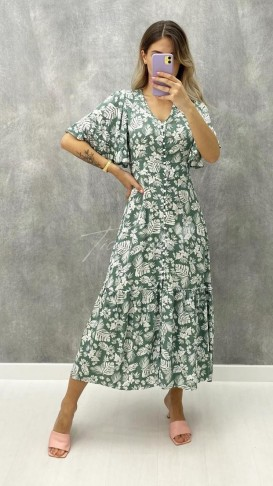 Yaprak Desen Düğme Detaylı Elbise - Haki