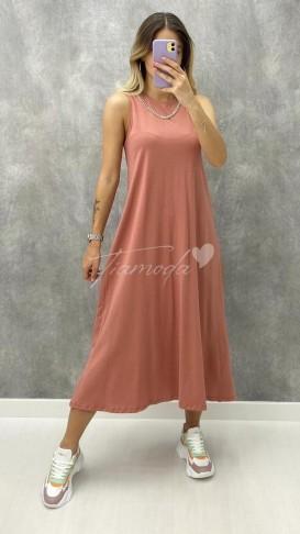 Yakası Zincirli Penye Elbise - Pudra