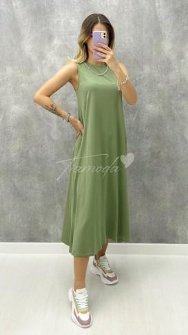 Yakası Zincirli Penye Elbise - Haki