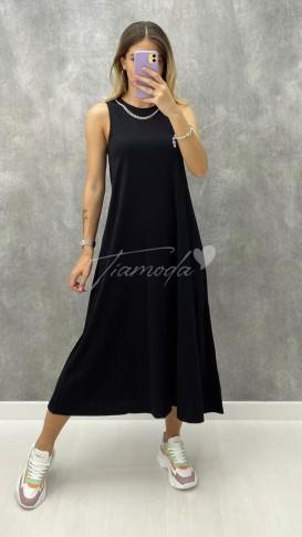 Yakası Zincirli Penye Elbise - Siyah