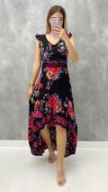 Sırt Detay Çiçekli Elbise - Siyah