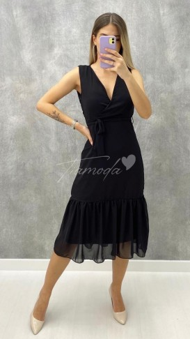 Kolsuz Şifon Elbise - Siyah