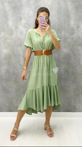 Deri Kemerli Keten Elbise - Yeşil