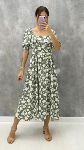 Çiçekli Kare Yaka Elbise - Haki