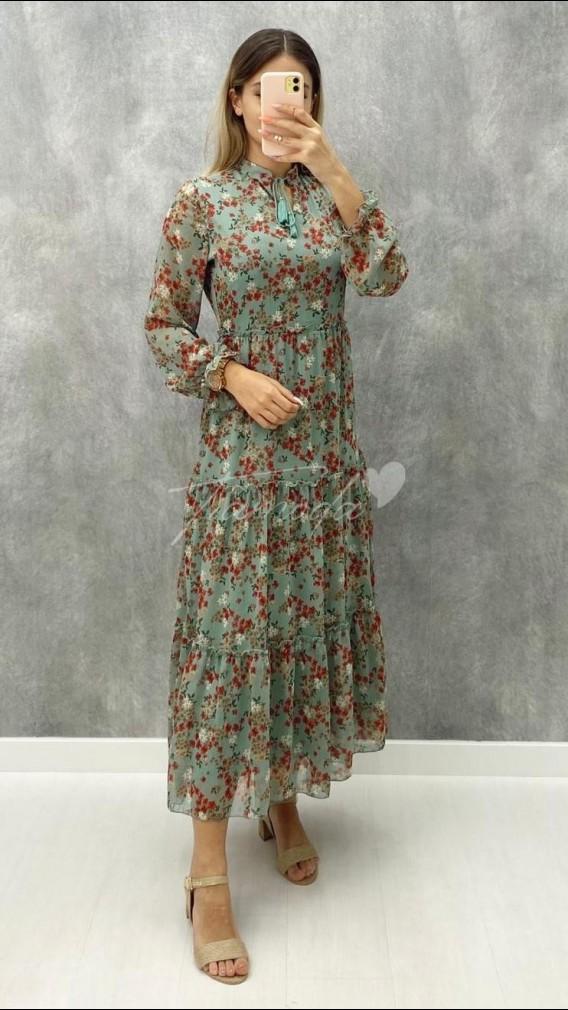 Çıtır Desen Şifon Elbise - Nefti Yeşil