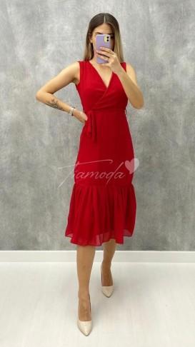 Kolsuz Şifon Elbise - Kırmızı