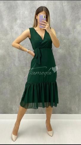 Kolsuz Şifon Elbise - Yeşil