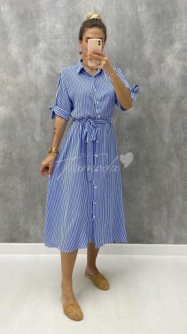 Çizgili Gömlek Elbise - Mavi