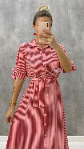 Çizgili Gömlek Elbise - Kırmızı