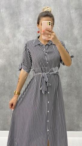 Çizgili Gömlek Elbise - Siyah
