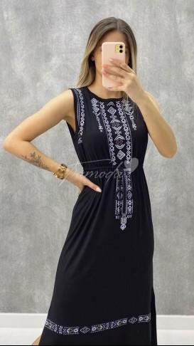 Etnik Desen Penye Elbise - Siyah