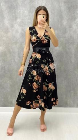 Kuşaklı Çiçek Desen Elbise