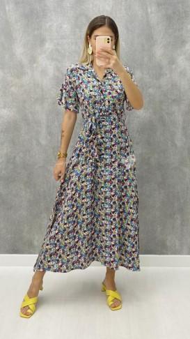 Kısa Kol Çiçekli Elbise - Mavi