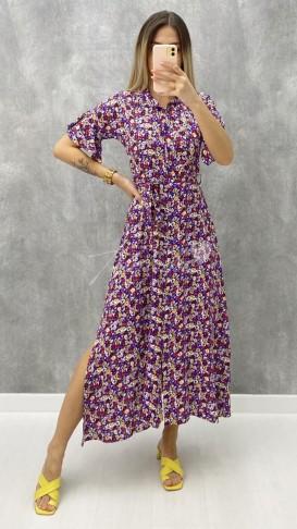 Kısa Kol Çiçekli Elbise - Mor