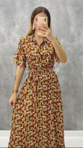 Kısa Kol Çiçekli Elbise - Yeşil