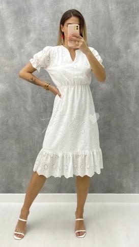 Yaka Detay Fistolu Elbise - Beyaz