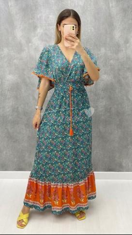 Püskül Detay Şal Desen Elbise