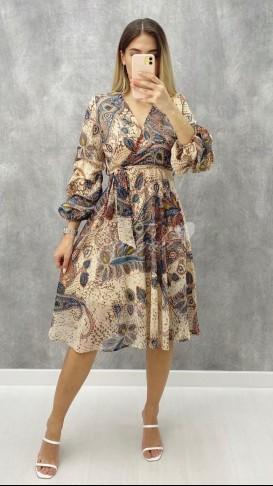 Kolu Büzgü Etnik Desen Elbise